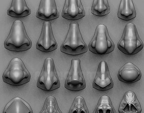 3D 20 Noses with high poly and low poly