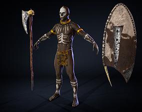 wrestler 3D model African Warrior