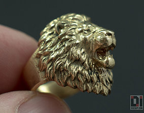 3D printable model Angry Lion roaring animal head ring