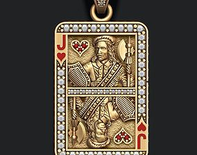 Heart Jack playing card pendant 3D print model
