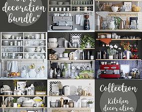 3D Kitchen shelves decor set