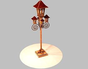 3D model Wooden Lampost