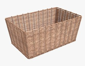 Wicker basket rectangular 02 light brown 3D model