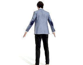 Business man in a grey and black suit 3D asset