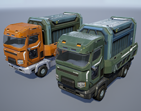 low-poly Sci-Fi Truck - game model