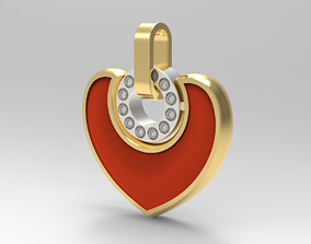 Bvlgari Heart Pendant - with stones 3D printable model