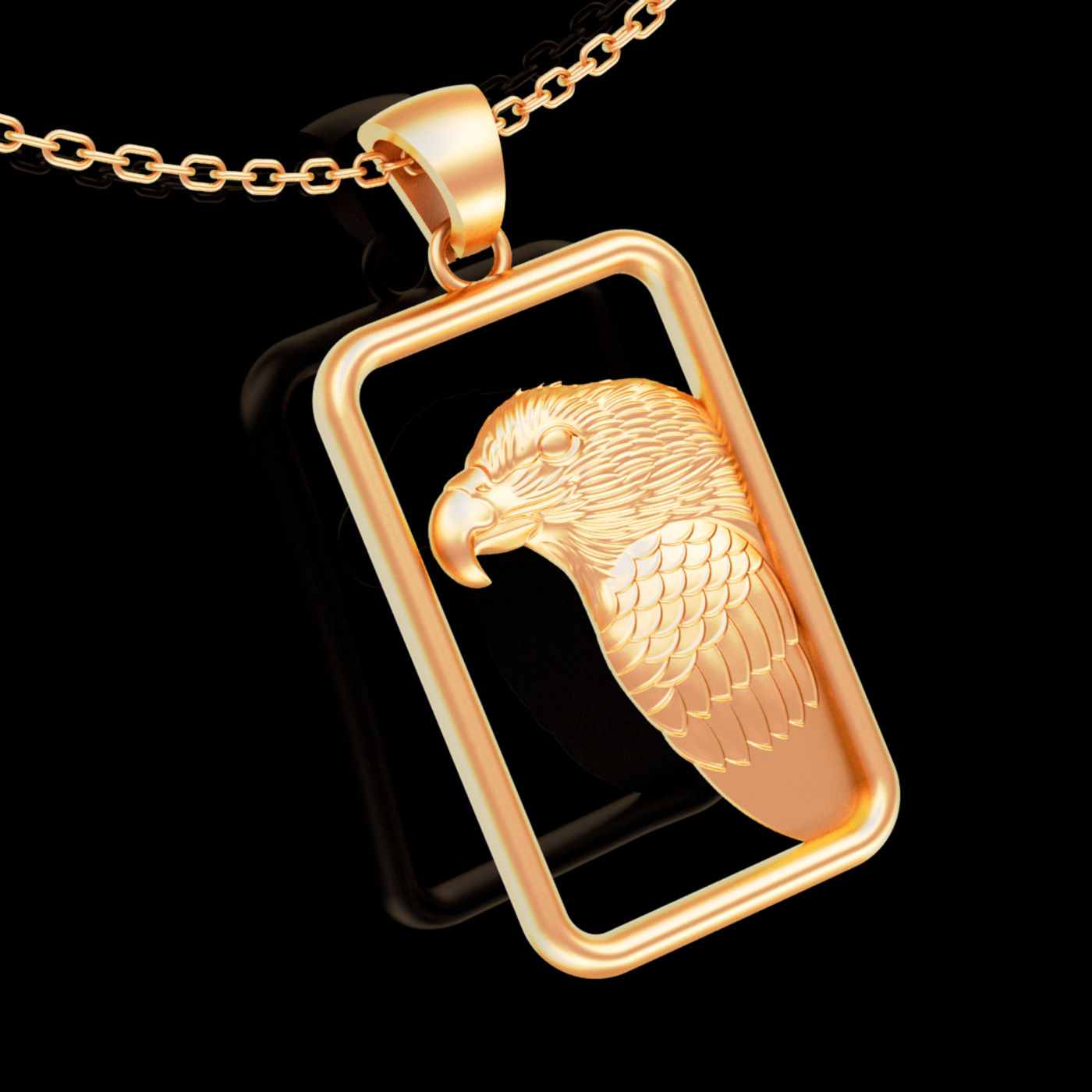 Eagle Head Figure pendant jewelry gold necklace medallion 3D print model