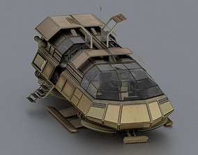 Futuristic Transport Shuttle Rigged 3D asset animated