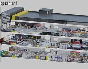 low poly shop center 1 3D asset VR / AR ready