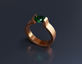 Ring with Gemstone 01 3D model