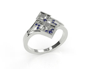 Art Deco antique ring with diamonds 3D printing model