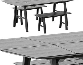 TABLE AND BENCH SAVIA BY WOODENDOT furnishing 3D model