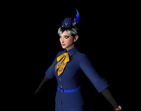 High precision air hostess character model 3D