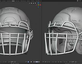 3D printable model Modern Football Helmet with various