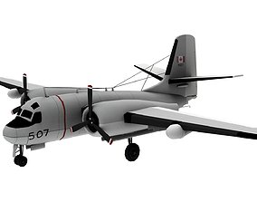 Lowpoly S-2 Tracker Airplane 3D Model low-poly