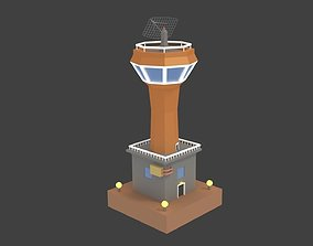 3D model Low Poly Cartoony Space Colony Tower