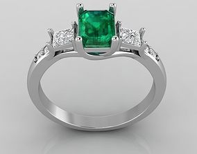 Ring with emerald ring 3D printable model