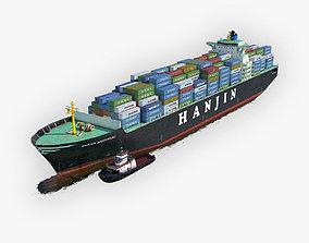 Cargo Ship Hanjin and Tugboat 3D asset