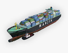 Cargo Ship Hanjin and Tugboat 3D asset