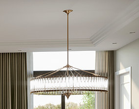 murano glass tube and brass chandelier 3D