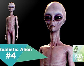 Realistic Alien 4 3D model animated