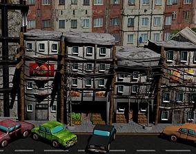 Ruined street 3D asset