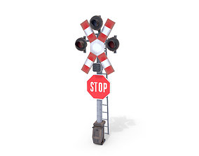 Rail Crossing Traffic Light Weathered 3D model