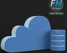 3D model Cloud storage icon
