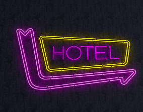 Hotel Neon Sign 3D asset realtime