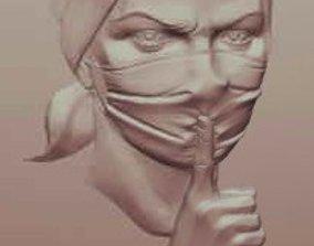 3D printable model hospital silence corona mask female