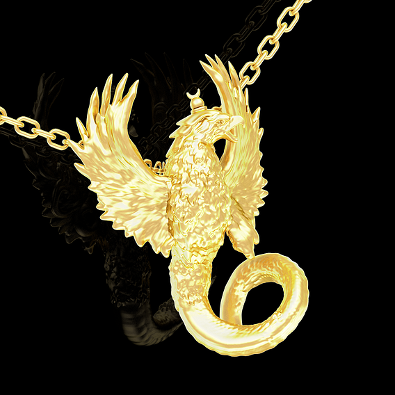 Eagle Snake pendant jewelry gold necklace medallion 3D print model