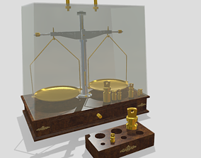 Old precision scales with wooden base 3D