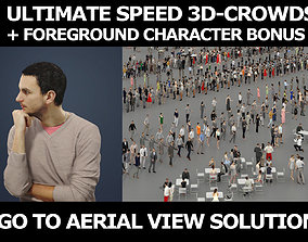 3d crowds and Jest Smart Casual Man Sitting Thinking
