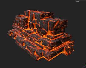 3D asset Low poly Lava Temple Block 09 181116