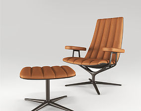 Armchair and tabouret Healey Lounge from Walter Knoll 3D