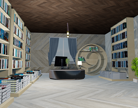 low-poly Library 3d model