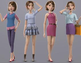 Cartoon Girl Rigged 3D model PBR