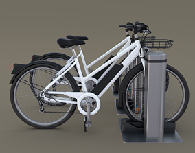 Electric Bicycle and Station 3D