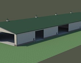 barn 3D model 350 x 140 shed with 12 semi bays