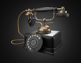 Vintage old rotary telephone 3D