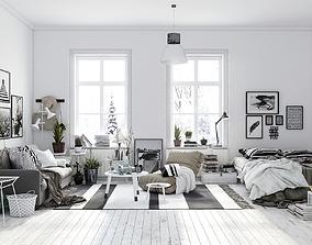 3D model Scandinavian Living Room Interior Scene for 1