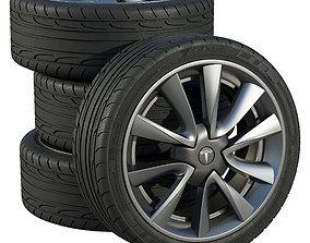 3D model Tesla wheels car