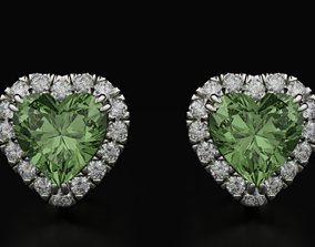 Stylish earrings with diamonds and a heart 3D print model