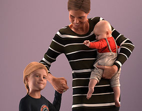 Pre-posed mother with her kids 3D