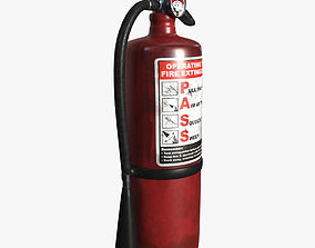 3D model game-ready old fire extinguisher