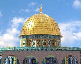 3D Dom of The Rock al-aqsa mosque