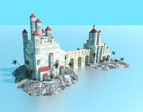 low poly sea castle 3D asset