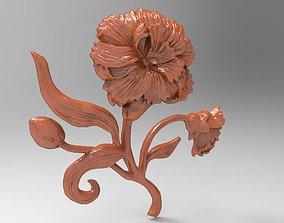 Carnation bas relief for CNC 3D printable model printable