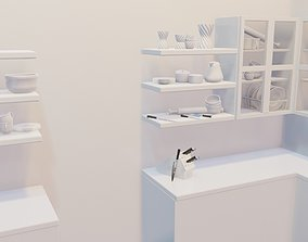 kitchen item utensils plates and silverware items 3D