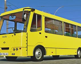 3D model realtime Bus Yellow Bus Ukrain Bus ISUZU